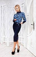 Женский костюм блуза с юбкой №2227 (р.42-46)