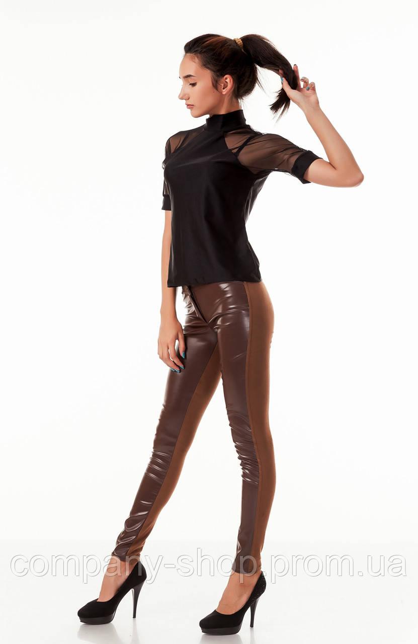 Леггинсы брюки комбинированные с кожей. Модель L059_коричневый.