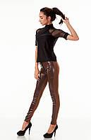 Леггинсы брюки комбинированные с кожей. Модель L059_коричневый., фото 1