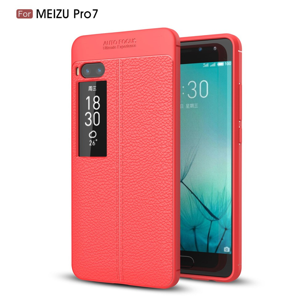 Чехол накладка для Meizu PRO 7 силиконовый, Фактура кожи, красный
