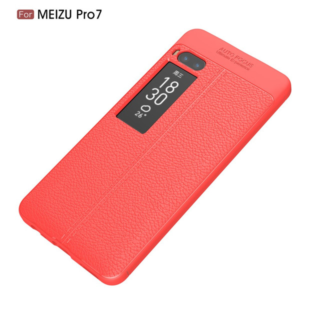 чехол накладка Meizu PRO 7 фактура кожи красный