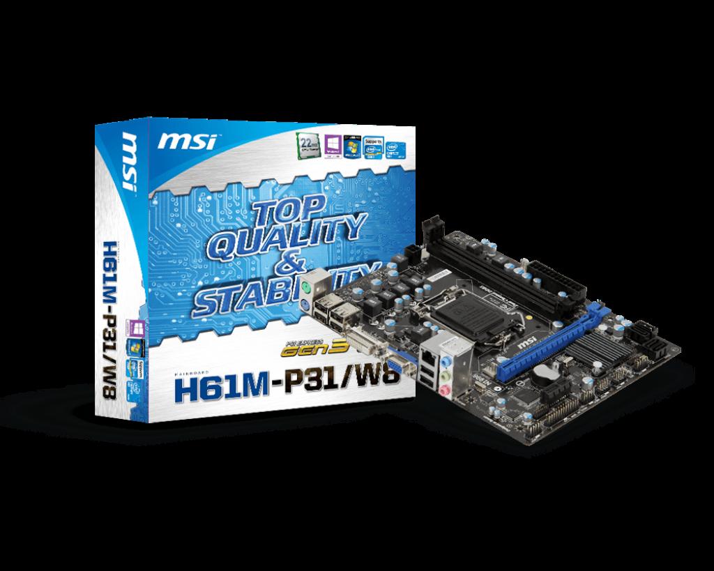 Материнская плата MSI H61M-P31/W8 (s1155, Intel H61)