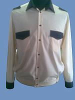 Форменная рубашка комбинированная бежевая с черным на длинный рукав