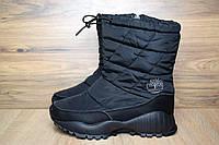 Зимние женские сапоги-дутики Timberland черные 3101