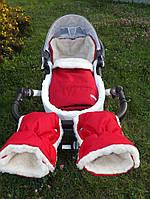 Детский зимний конверт в коляску, санки (красный)