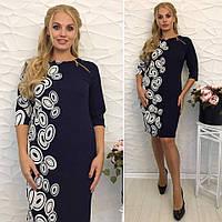 Платье женское большого размера,  Ткань - трикотаж стрейч  длина 52 , 54 - 105 см , 56,58-110 см вмбат №4-300