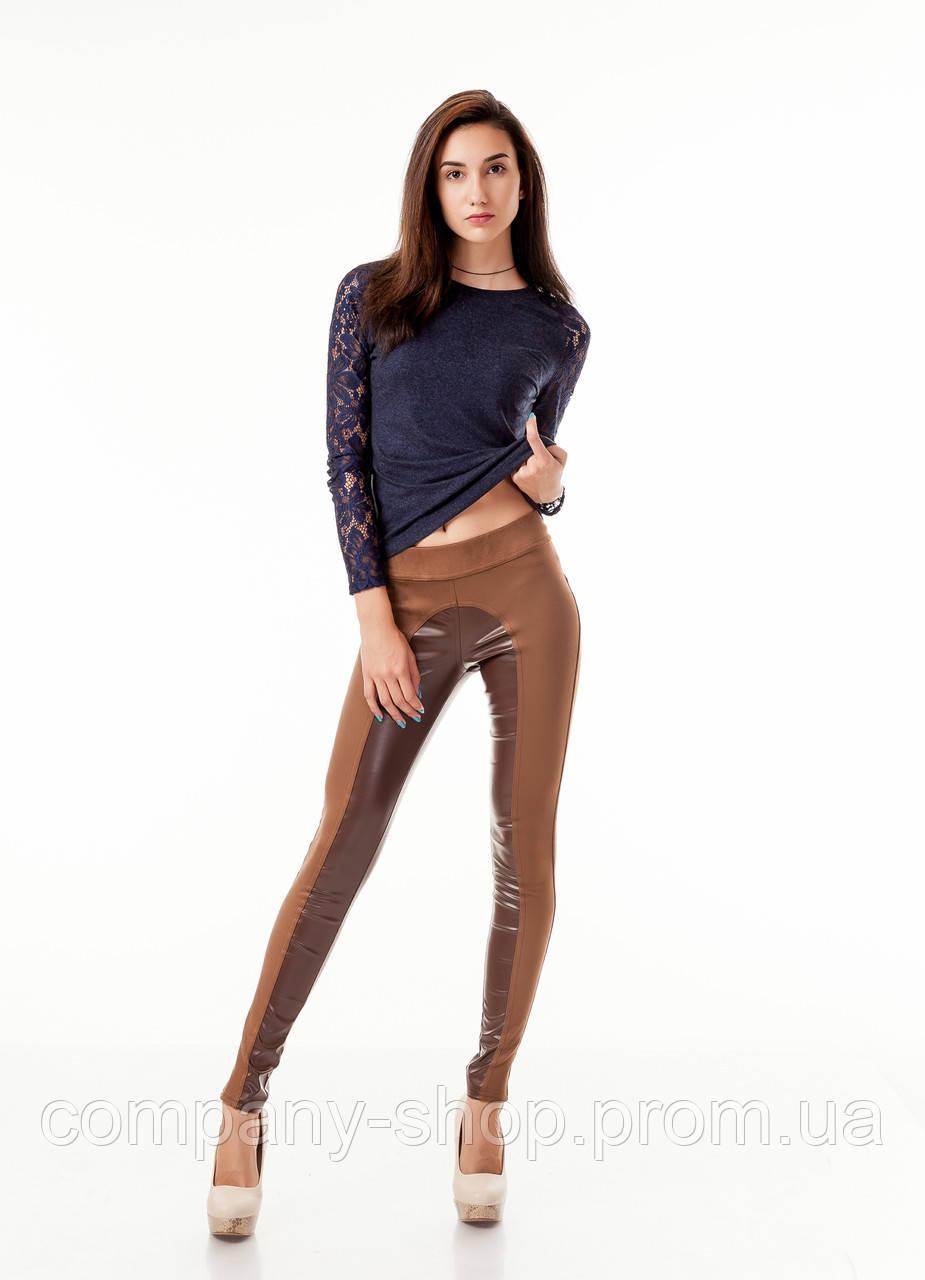 Леггинсы брюки комбинированные с замшей опт. Модель L056_коричневый.