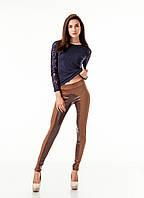 Леггинсы брюки комбинированные с замшей опт. Модель L056_коричневый., фото 1