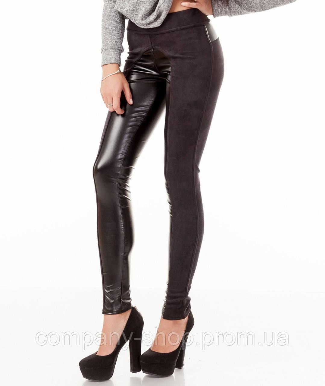 a4a45f7d4fcdc ... Леггинсы брюки комбинированные с замшей опт. Модель L056_черный., фото  4 ...