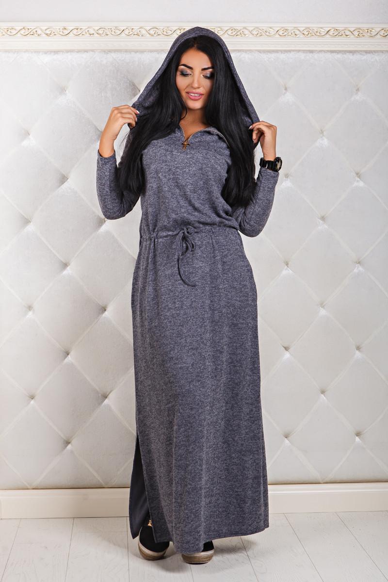 ДР1291 Ангоровое платье с капюшоном