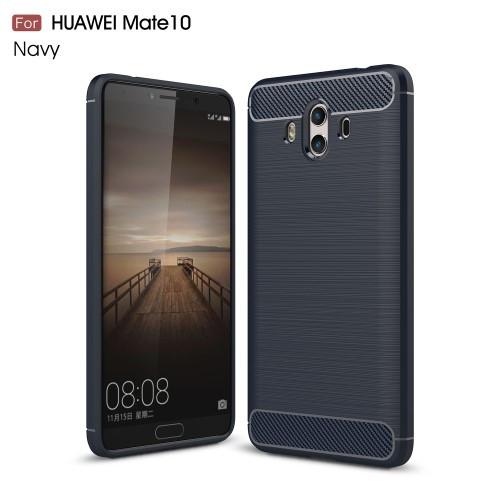 Чехол накладка TPU Fiber Carbon для Huawei Mate 10 синий