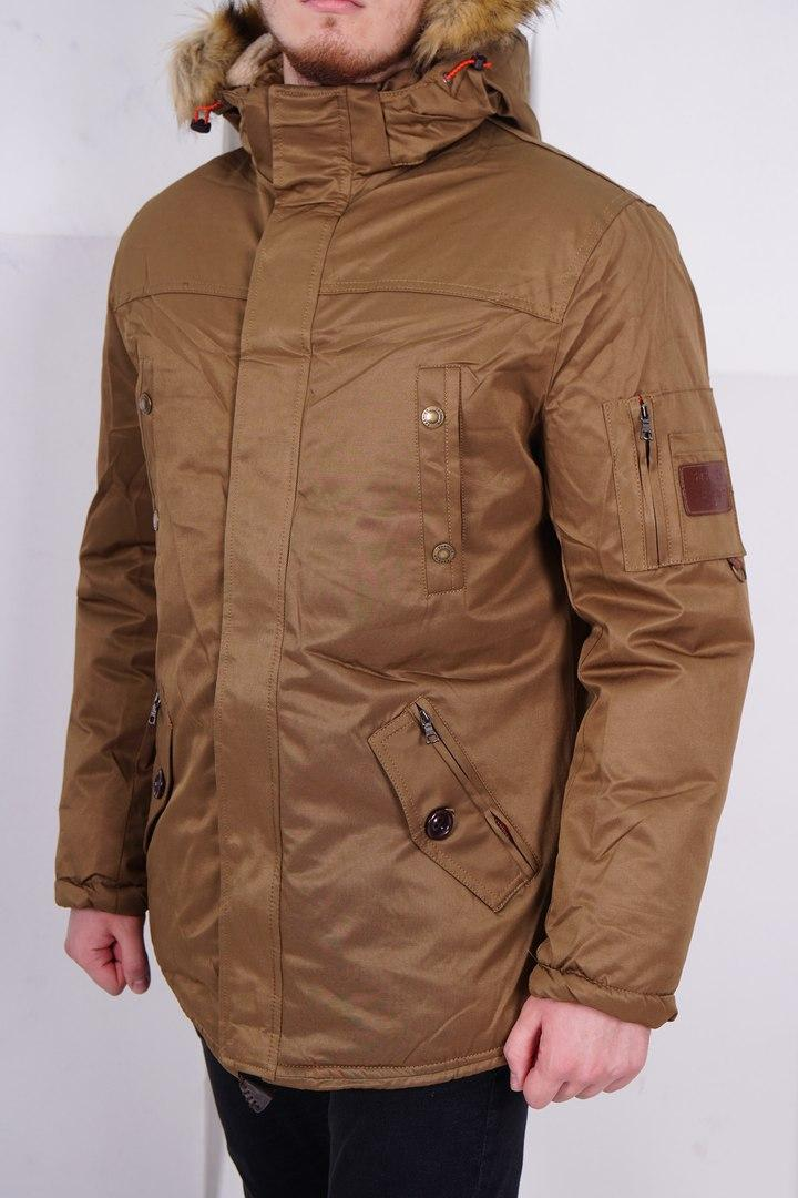 Мужская теплая зимняя куртка/парка, коричневая
