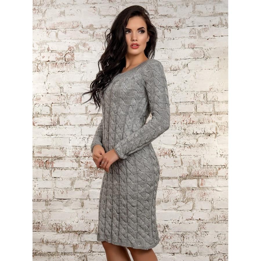 dbb5ca3a881c094 Молодежное вязаное платье серого цвета,P50247-5 - AnnaskoStyle стильная  женская одежда от современных