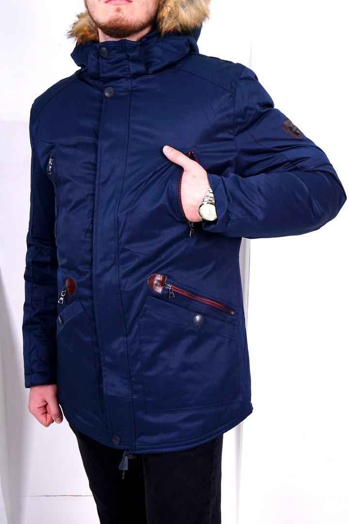 Стильная Мужская теплая зимняя куртка/парка, синяя