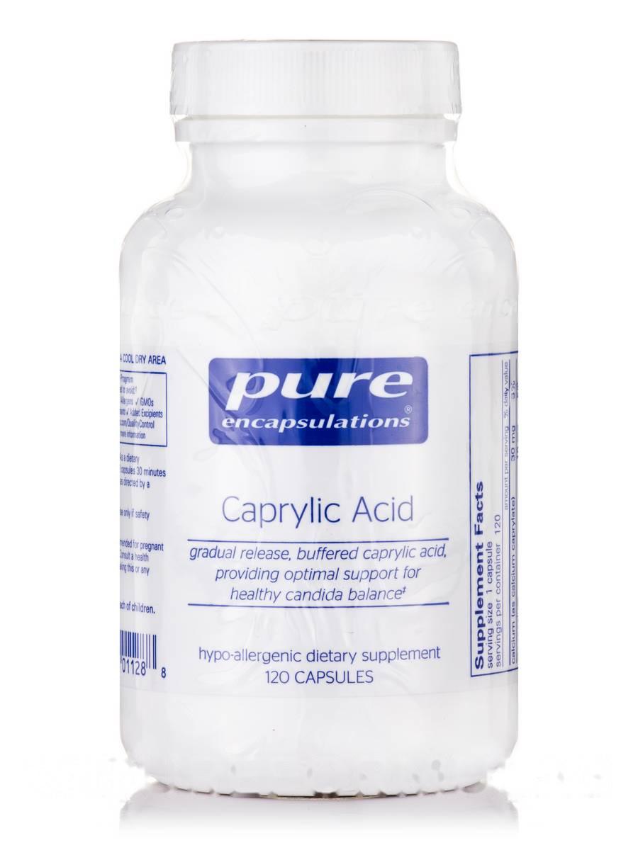 Каприлова кислота, Caprylic Acid, Pure Encapsulations, 120 капсул