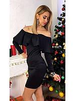 Платье с воланом на плечах Monika чёрное