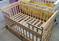 """Детская кроватка-трансформер  """"Лодочка"""" с ящиком светлое дерево, фото 1"""