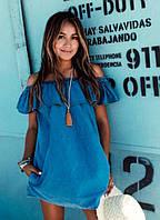 Летний джинсовый сарафан с воланом Donna   (код 050) , фото 1