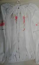 """Вишиванка дівч. Luxik """"Ярина"""" ШМ69, 152 біла з червоним малюнок шовк"""