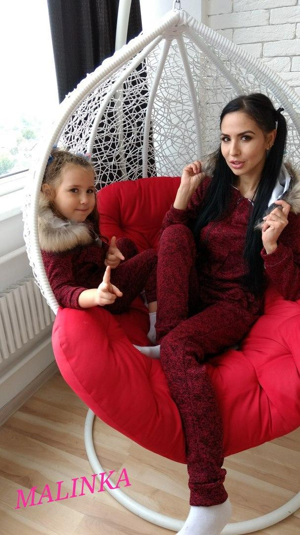 Костюм спортивный для мамы и для дочкис натуральным мехом.