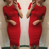 Летнее миди платье Dominica красное   (код 018)