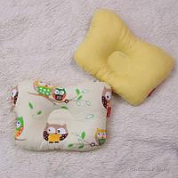 """Подушка бабочка для новорожденных """"Совы"""", желтая"""