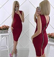 Летнее платье на молнии Bella бордовое   (код 041) , фото 1