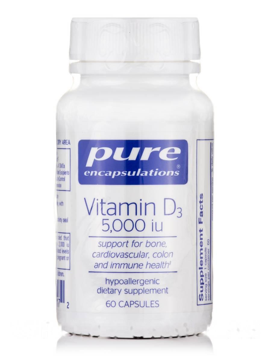 Вітамін D3 5000 МО, Vitamin D3 5000, Pure Encapsulations, 60 капсул