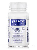 Вітамін D3 5000 МО, Vitamin D3 5000, Pure Encapsulations, 60 капсул, фото 1