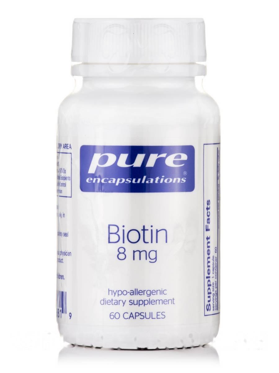 Биотин 8 мг, Biotin, Pure Encapsulations, 60 капсул