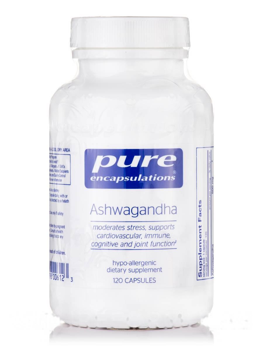 Ашваганда, Ashwagandha, Pure Encapsulations, 120 Капсул