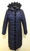 Женское пальто с мехом норки MADONNA темно-синий скидка