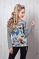 Свитшот мод № 261-5 размер 42,44,46,48 птички