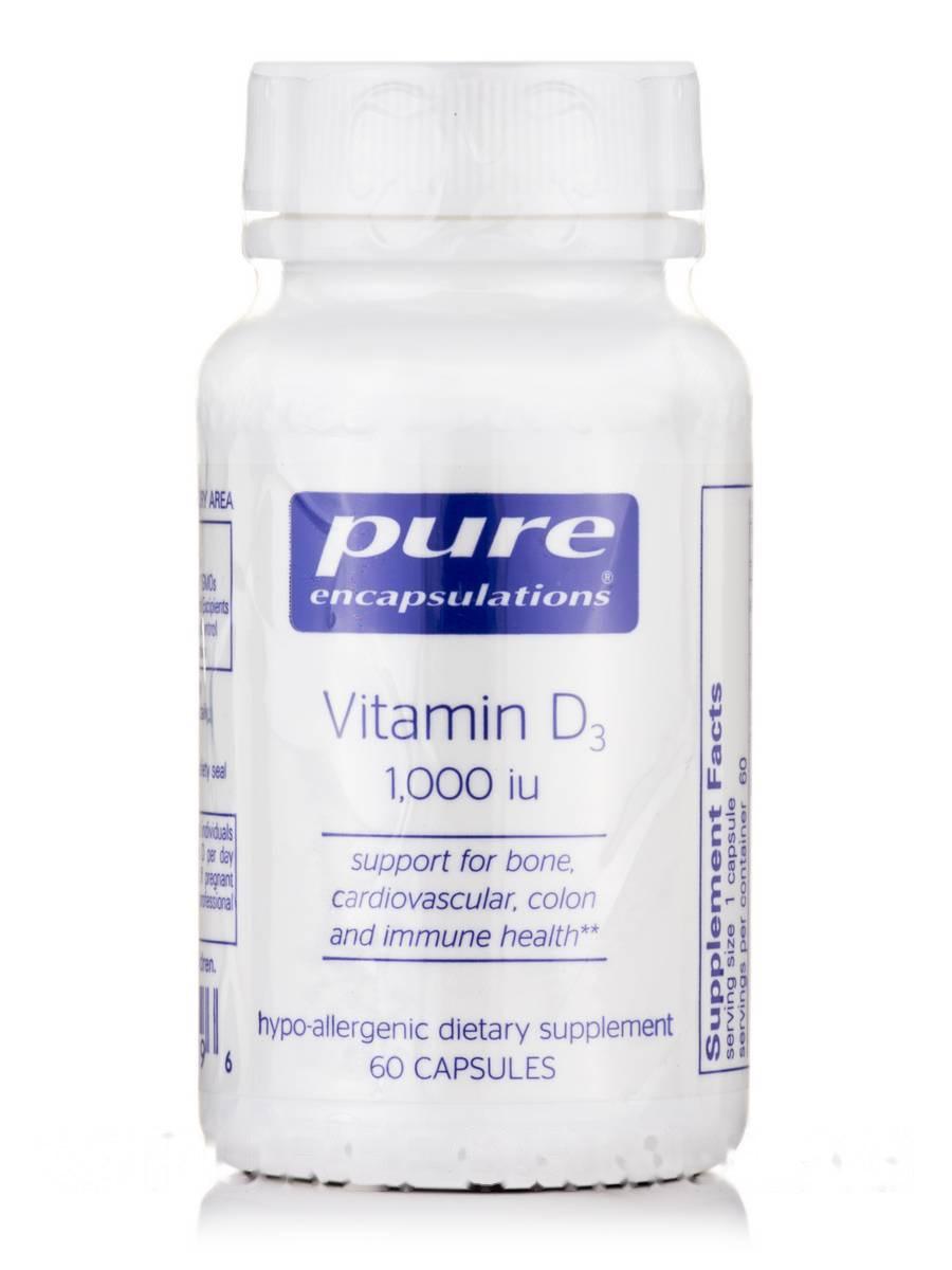 Вітамін D3 1, 000 IU, Vitamin D3 1 000 IU, Pure Encapsulations, 60 Капсул