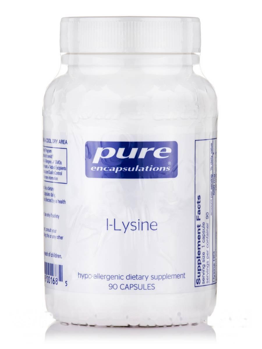 L-лизин, l-Lysine, Pure Encapsulations, 90 капсул