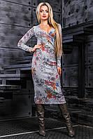 Платье серое с цветным принтом (44-50)