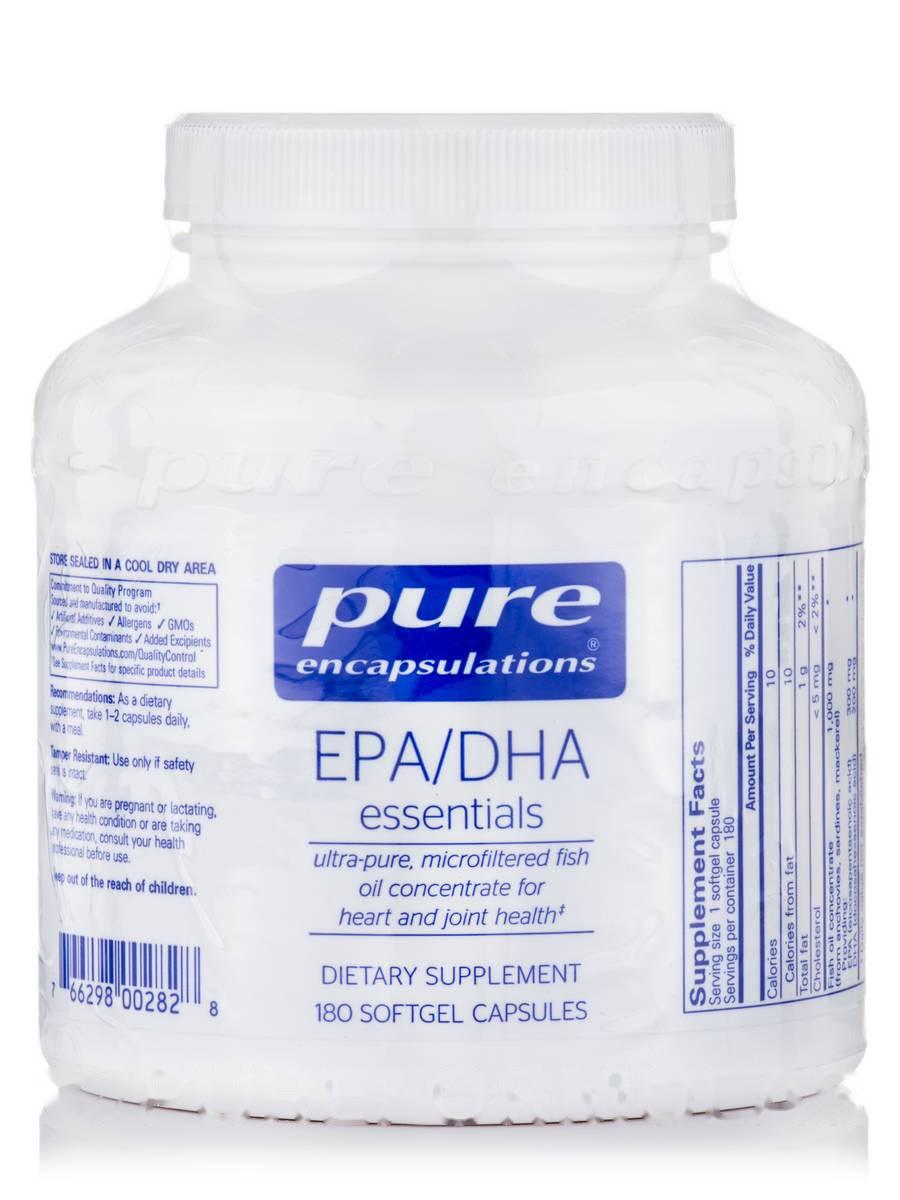 EPA/DHA Основные, EPA/DHA Essential, Pure Encapsulations, 180 Капсул