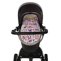 """Детский зимний конверт в коляску для новорожденных """"До Речи"""" розовый с мишками"""
