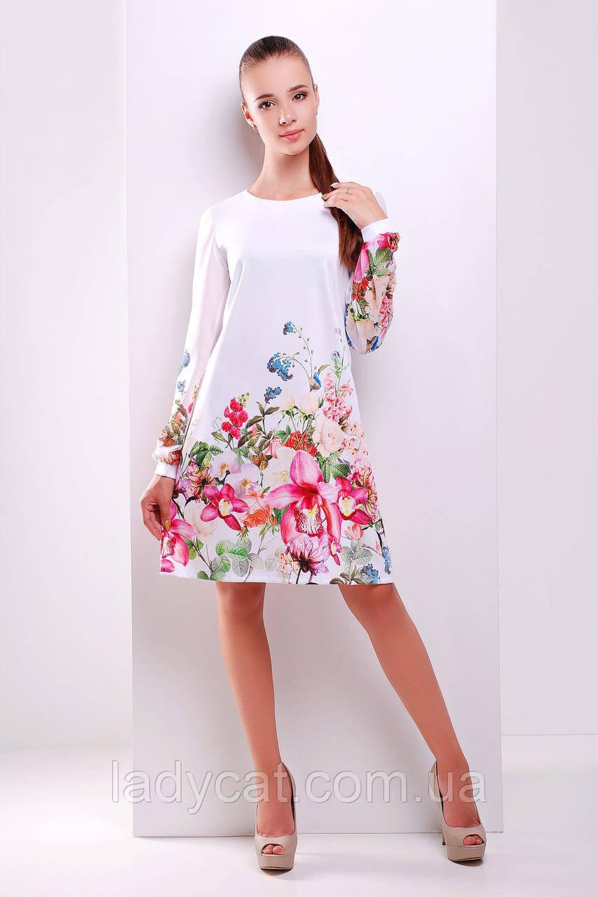 """Белое платье-трапеция с длинным рукавомс принтом """"букет"""""""