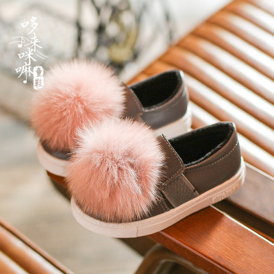 Туфли  с пампоном из меха