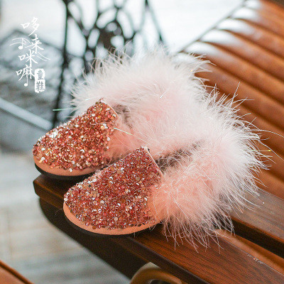 Туфли  с пайетками и мехом