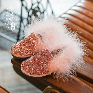 Туфли  с пайетками и мехом, фото 2