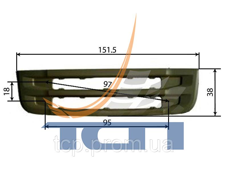 Решетка радиатора нижняя высота 38см SCANIA 6R T680003 ТСП