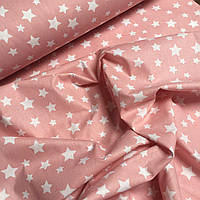 "Ткань хлопковая Турция ""Белые звезды на розовом"" 240 см  № WH-08"