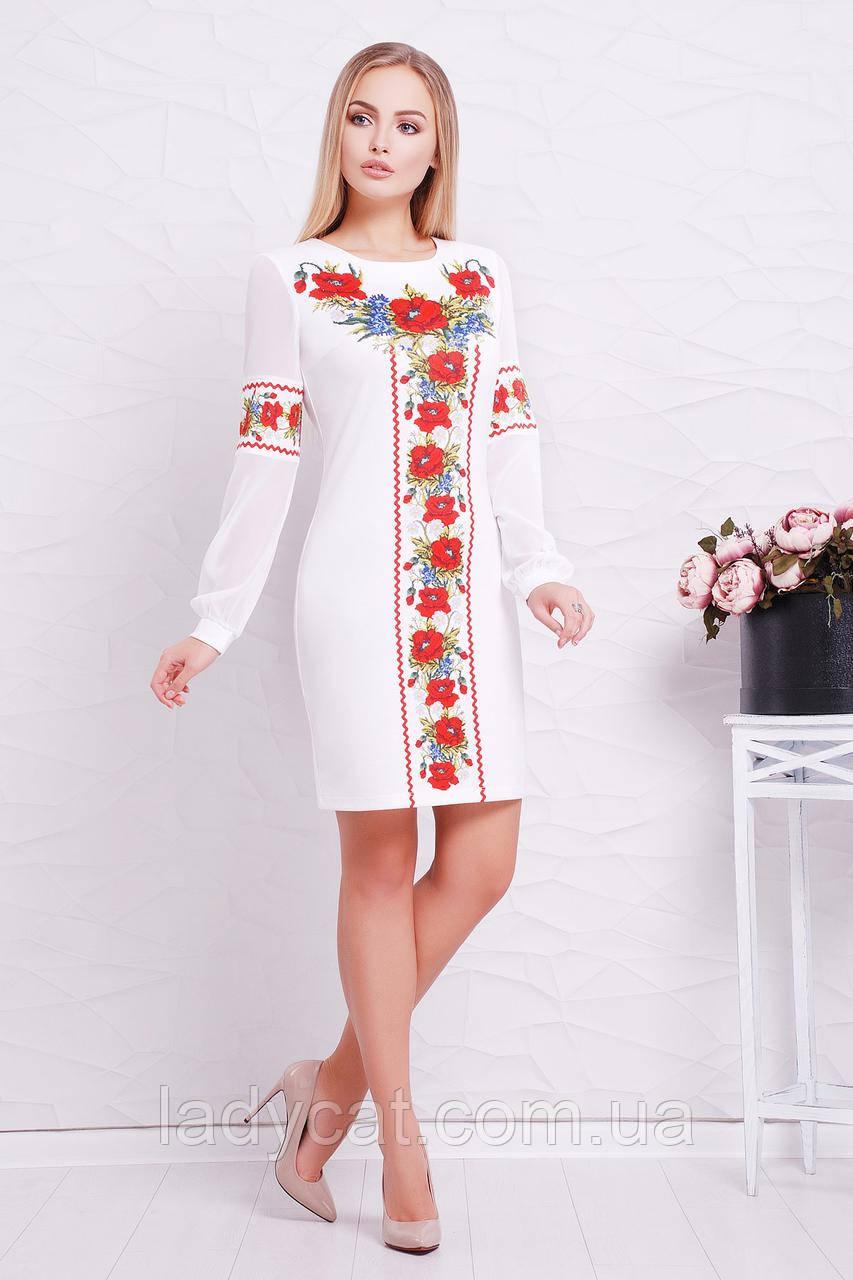 Элегантноебелое платье с этнопринтом