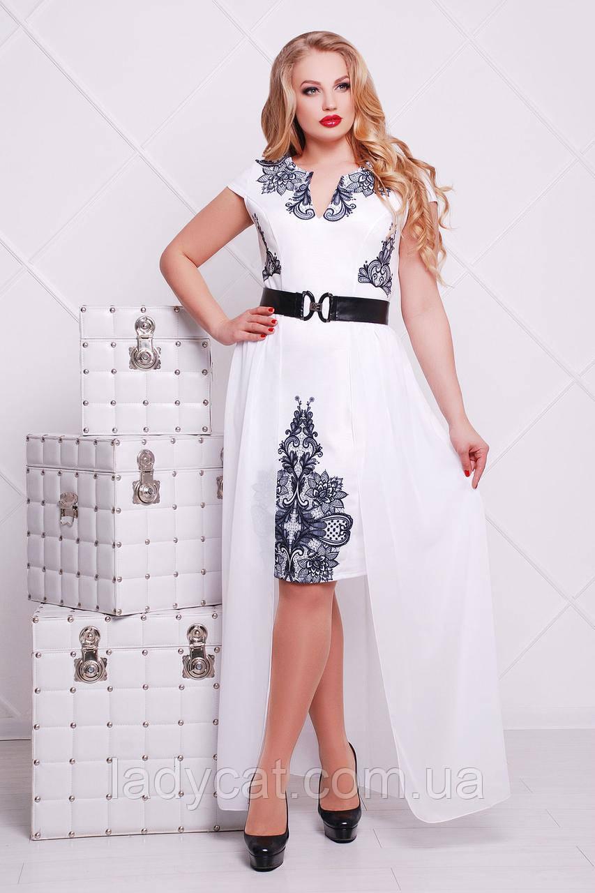 Элегантное платье с черным кружевнымпринтом на белом фоне и отстегивающейся юбкой