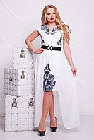 Элегантное платье с черным кружевнымпринтом на белом фоне и отстегивающейся юбкой, фото 1