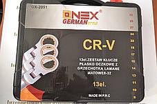 Набір рожково-накидних ключів з тріщоткою ONEX ОХ-2051, 13 шт, фото 2