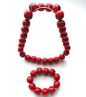 Комплект намисто и браслет красный крупный