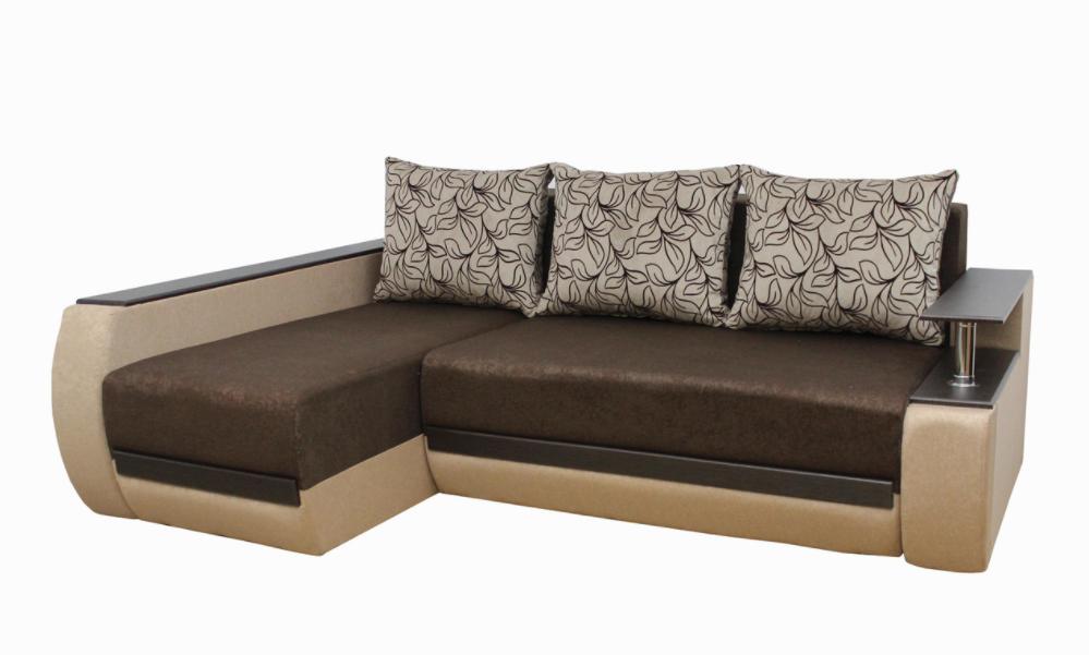 Угловой диван Garnitur.plus Граф бежево-коричневый 245 см